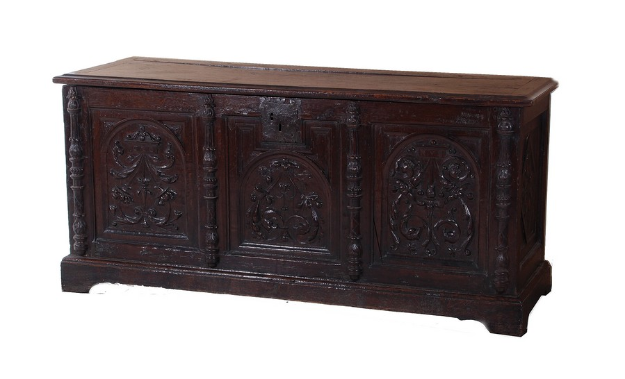 Northern european carved oak coffer or marriage chest