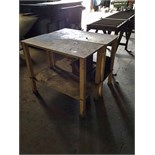 "LOT OF WORKTABLES (3), steel fabricated, 38"" x 18"" x 32"" ht."
