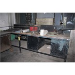 "WORKTABLE, steel fabricated, 10'W. x 30"" dp. X 36"" ht., w/contents"