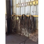 LOT CONSISTING OF: bandsaw blades & air hose (wall mtd.)
