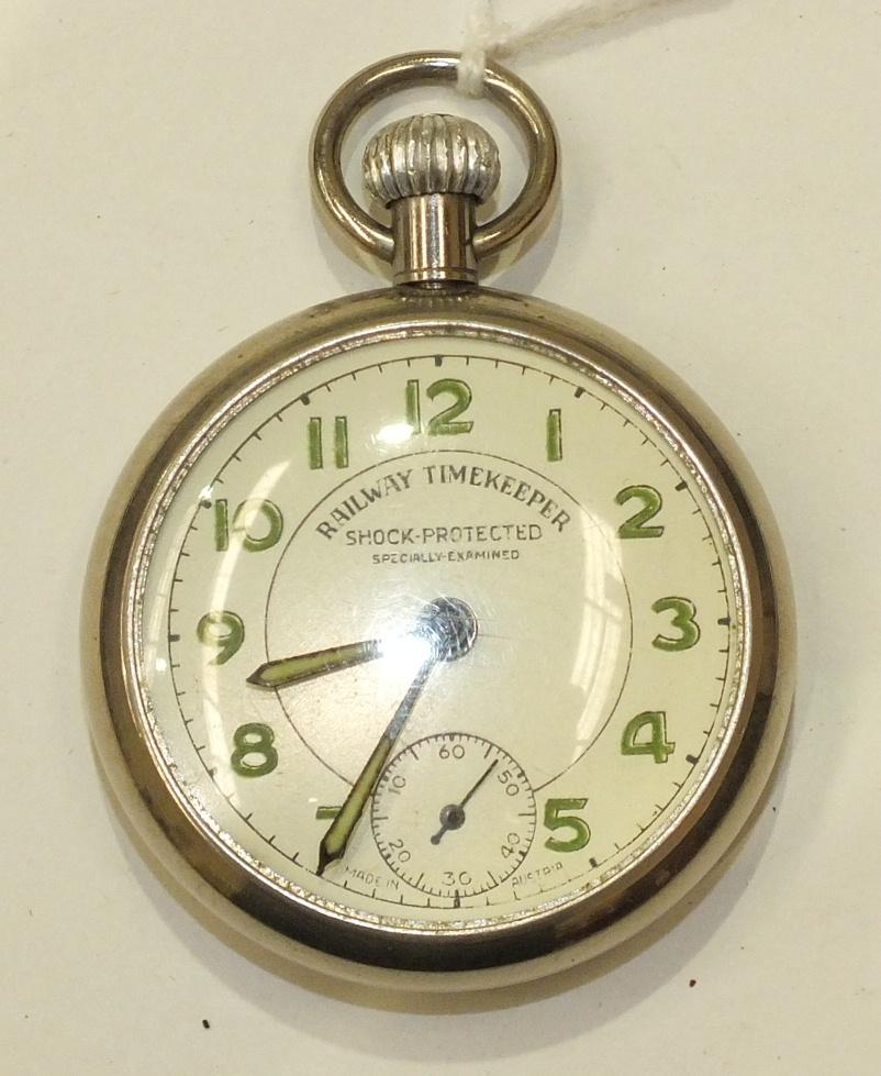 Lot 213 - An Austrian-made shock-protected 'Railway Timekeeper' keyless pocket watch.