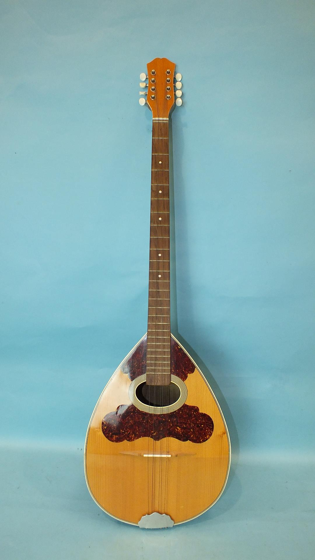 Lot 44 - A modern 8-string bouzouki with bowl back and tortoiseshell inlaid soundboard, 99cm.