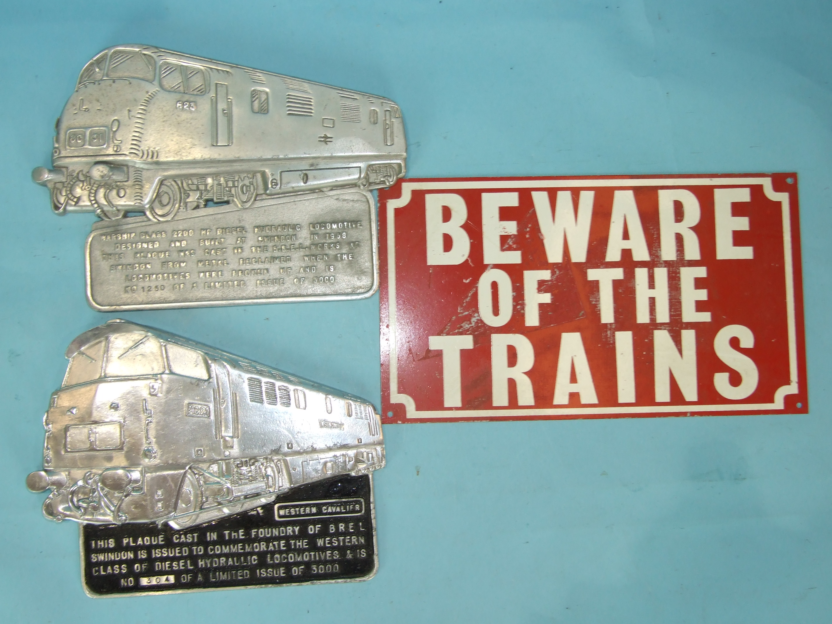 Lot 133 - An aluminium BREL (Swindon) commemorative plaque for the Warship Class 2200, no. 1250/3000 and