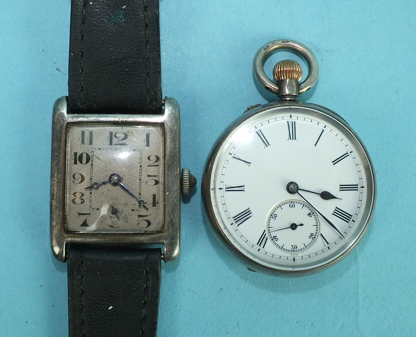 Lot 232 - A gentleman's vintage silver-cased wrist watch c1930, the rectangular silvered face with Arabic