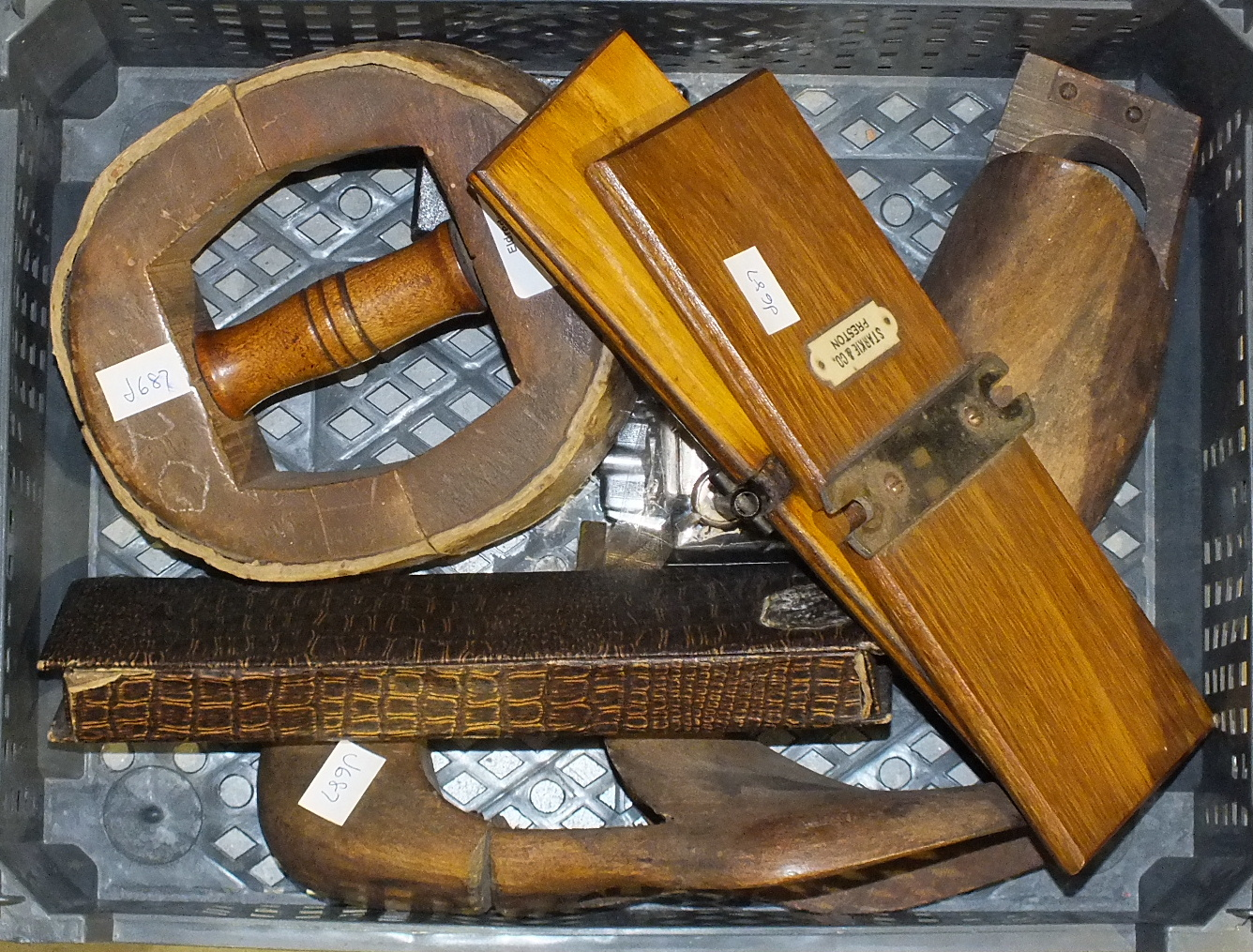 Lot 175 - A wooden hat stretcher and other items.