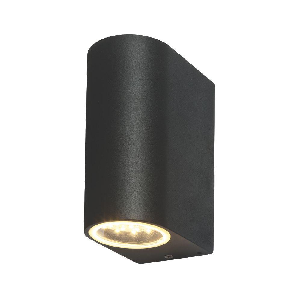 Wall Mounted Solar Powered Lights : 6xLAP Duran Matt Black LED Up & Down Wall Light 2x3.5W