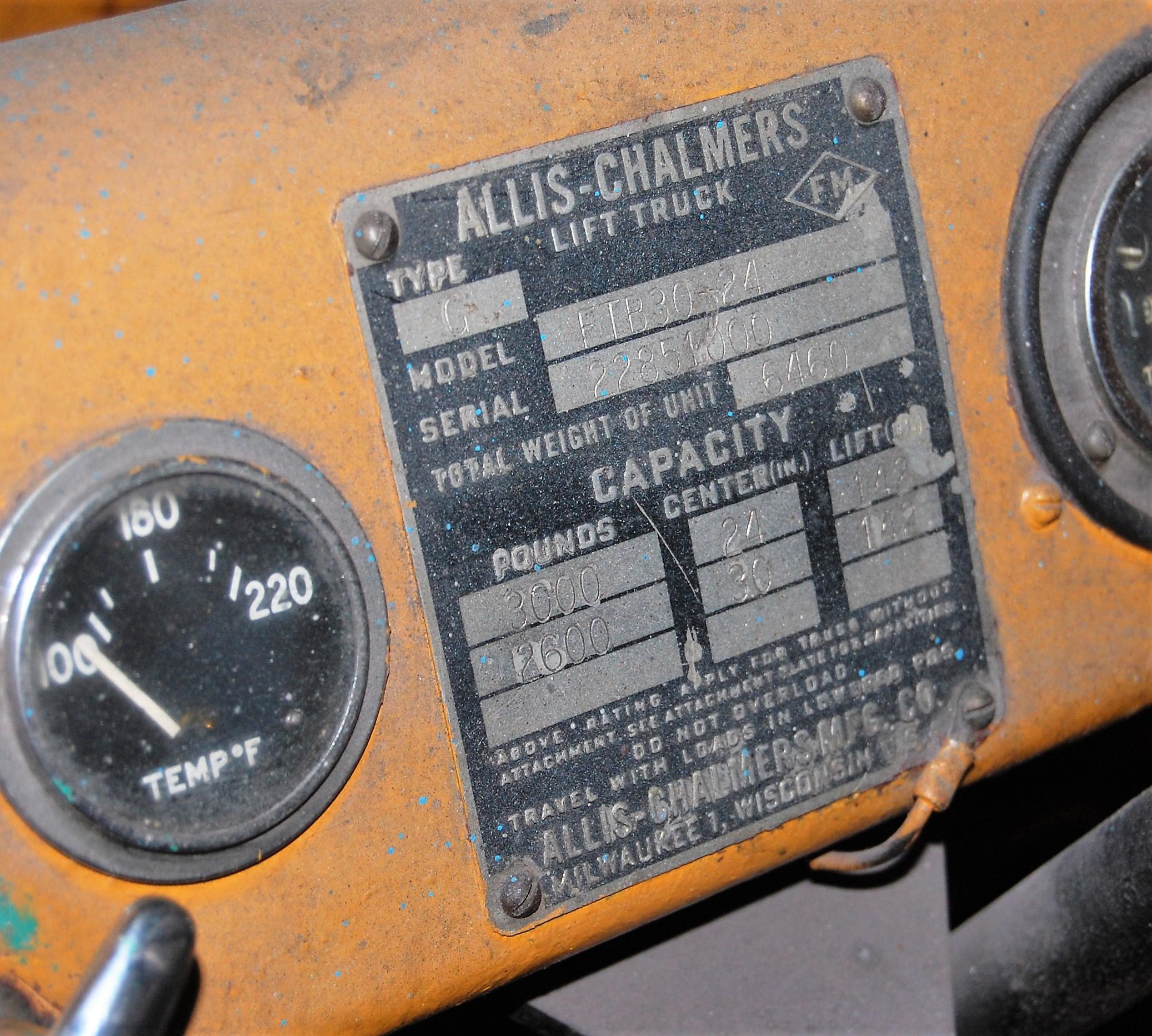 "Lot 51 - 2600# ALLIS CHALMERS MDL. FTB-30-24 PROPANE FORKLIFT, 142"" REACH, DOUBLE MAST, HARD TIRES, 34"""