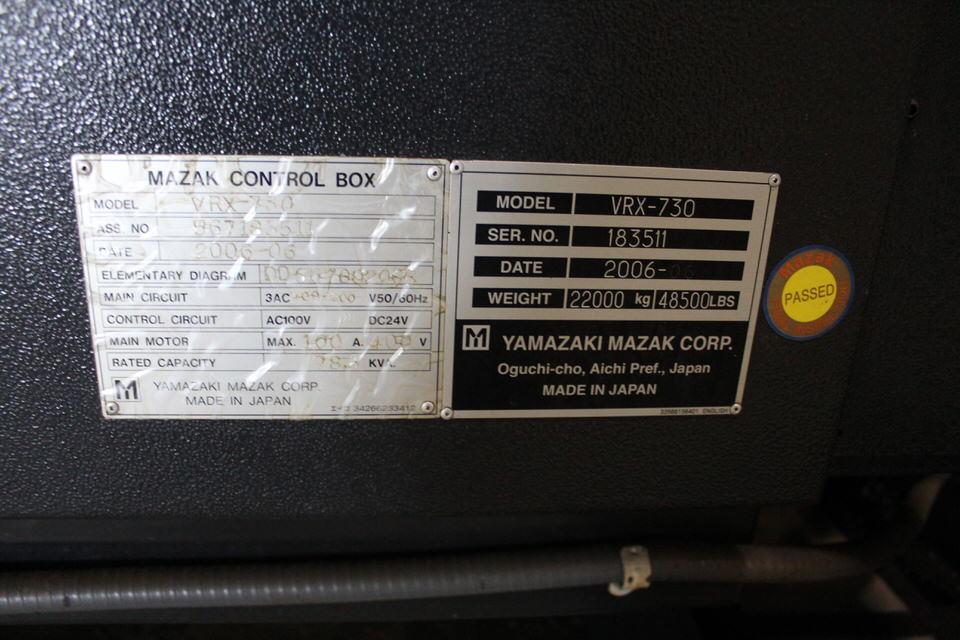 2006 MAZAK VRX-730-5X, MAZATROL 640M 5X CONTROL, 80 ATC - Image 6 of 6