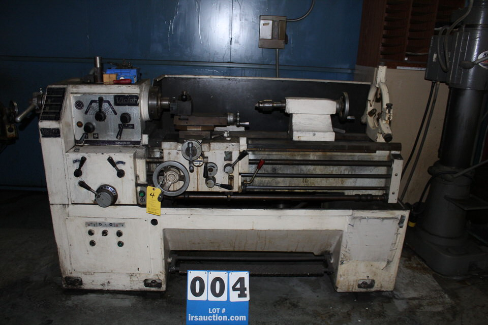 """VICTOR 1640 ENGINE LATHE, 1 1/ 2"""" HOLE, 54"""" BED, 16"""" SWING, 40"""" CENTERS, 7"""" CHUCK"""