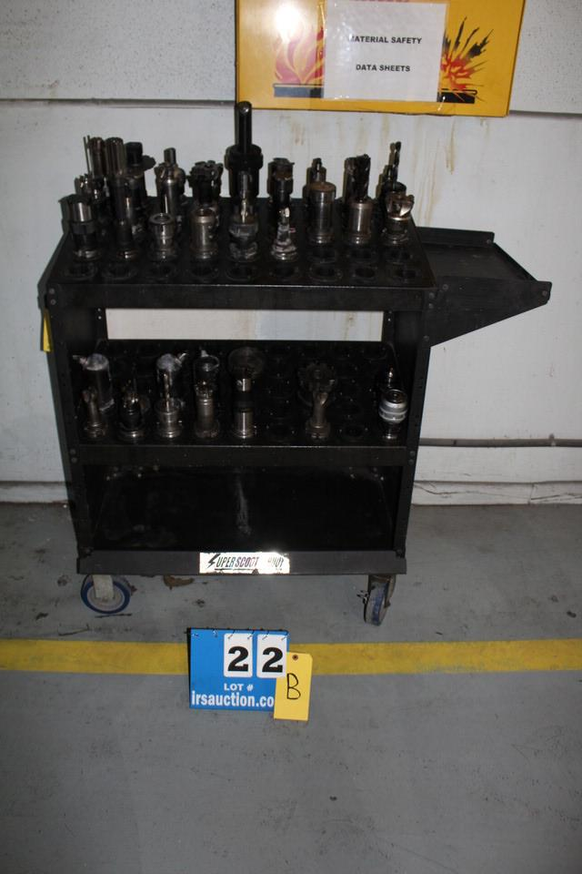 Lot 22B - SUPER SCOOT TOOL CART W/ APPROX 40 CAT 40 TOOL HOLDERS & ASSORT TOOLS