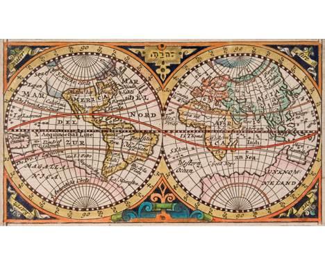 * World. Bohun (Edmund). [Untitled map of the world], published Charles Brome, [1693], hand coloured engraved hemispheral map