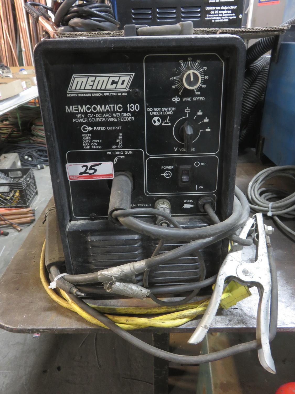 Lot 25 - MEMCO MEMCOMATIC 130, 115V, 90AMP, AMP RANGE 30-130 MIG WELDER