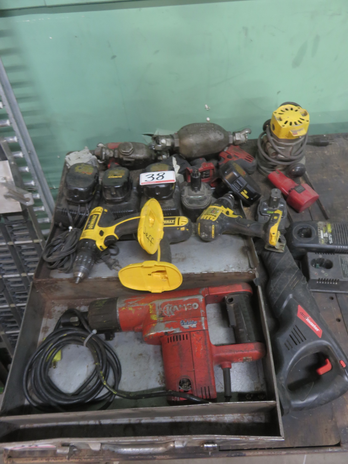 Lot 38 - LOT - BATTERY + ELECTRIC DRILLS, ROUTER JACK HAMMER (AS IS)