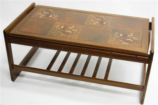 A 1970s G Plan Style Teak And Tile Top Coffee Table With Magazine Rack Beneath 97cm Wide 42cm
