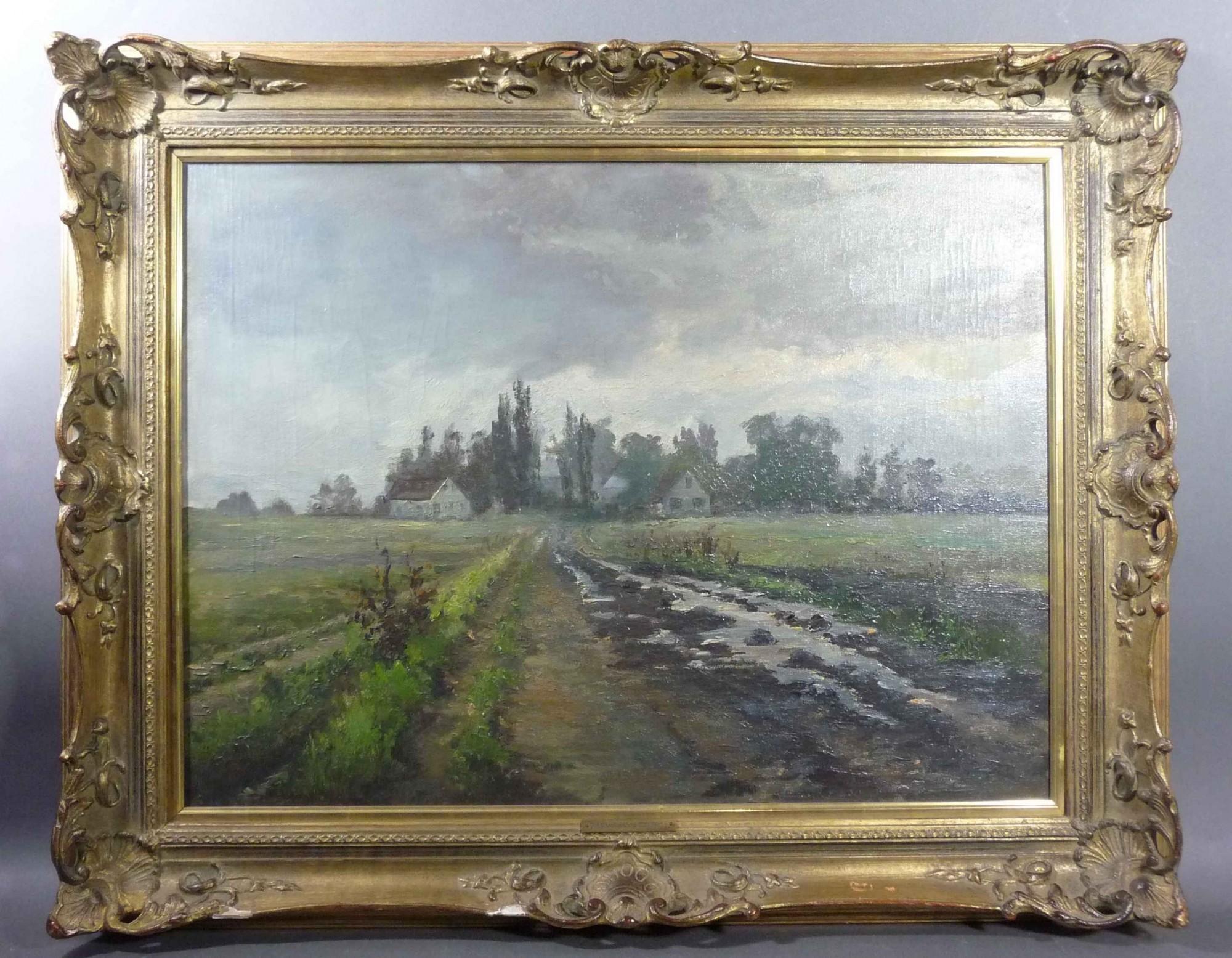 Lot 920 - Tecklenborg, Johanna Blick auf einen Weiler in flacher Landschaft (Bremerhaven 1851-1933 München)