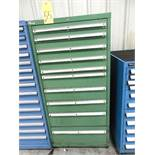 ROLLER DRAWER TOOL STORAGE CABINET, LISTA, 10-drawer, w/contents