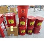 LOT OF OILY WASTE CANS (9), assorted