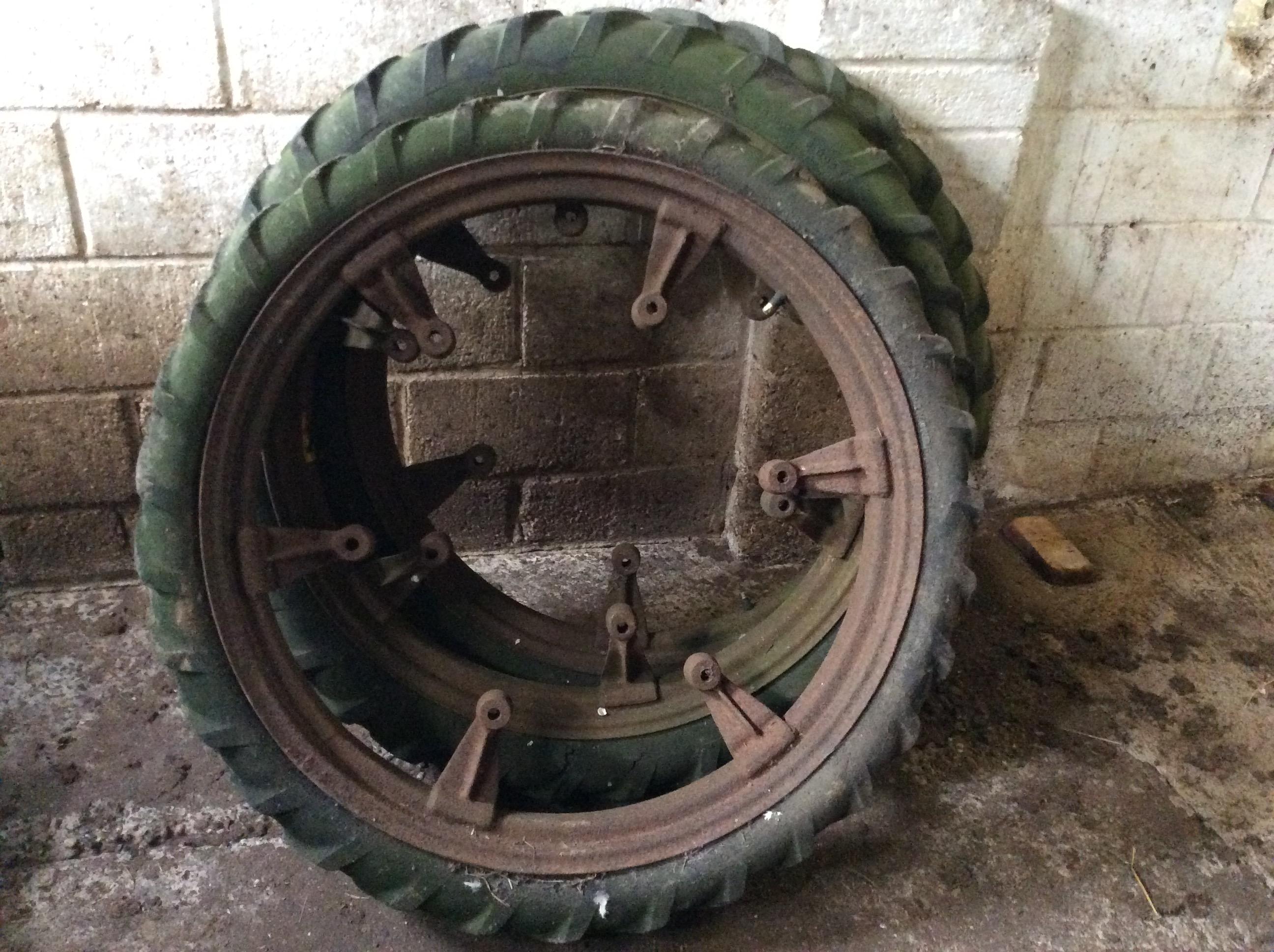 Lot 15 - 3 x Row crop wheels which fid a little gray Fergie.