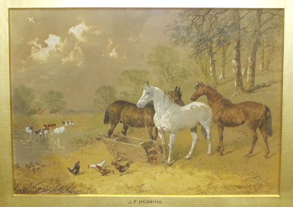 Lot 60 - In the style of J F Herring, 'Cattle, horses and hens beside stream', watercolour, bears