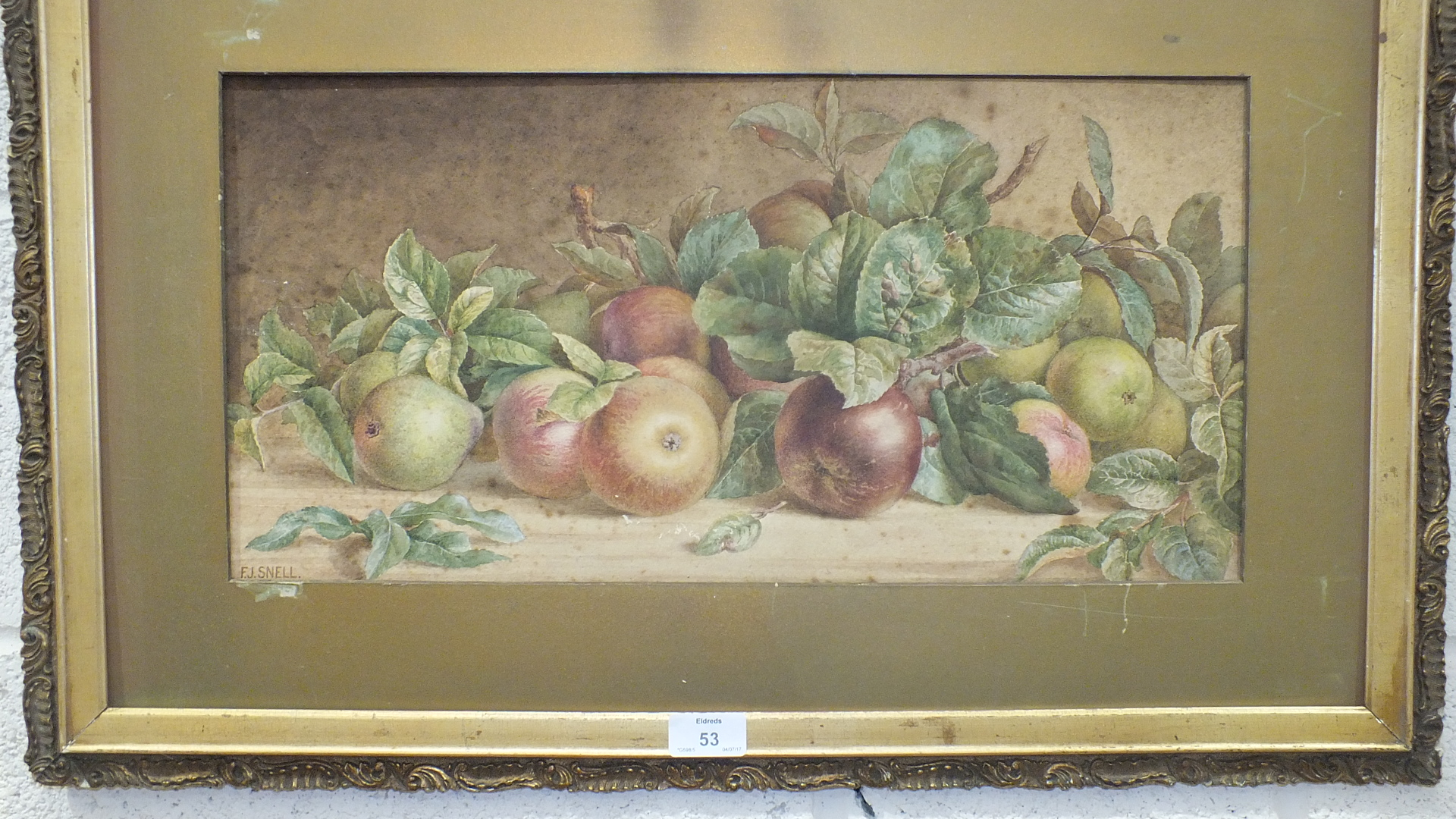 Lot 53 - F J Snell, 'Still Life, Apples', a signed watercolour, 24 x 50cm and other pictures and prints.