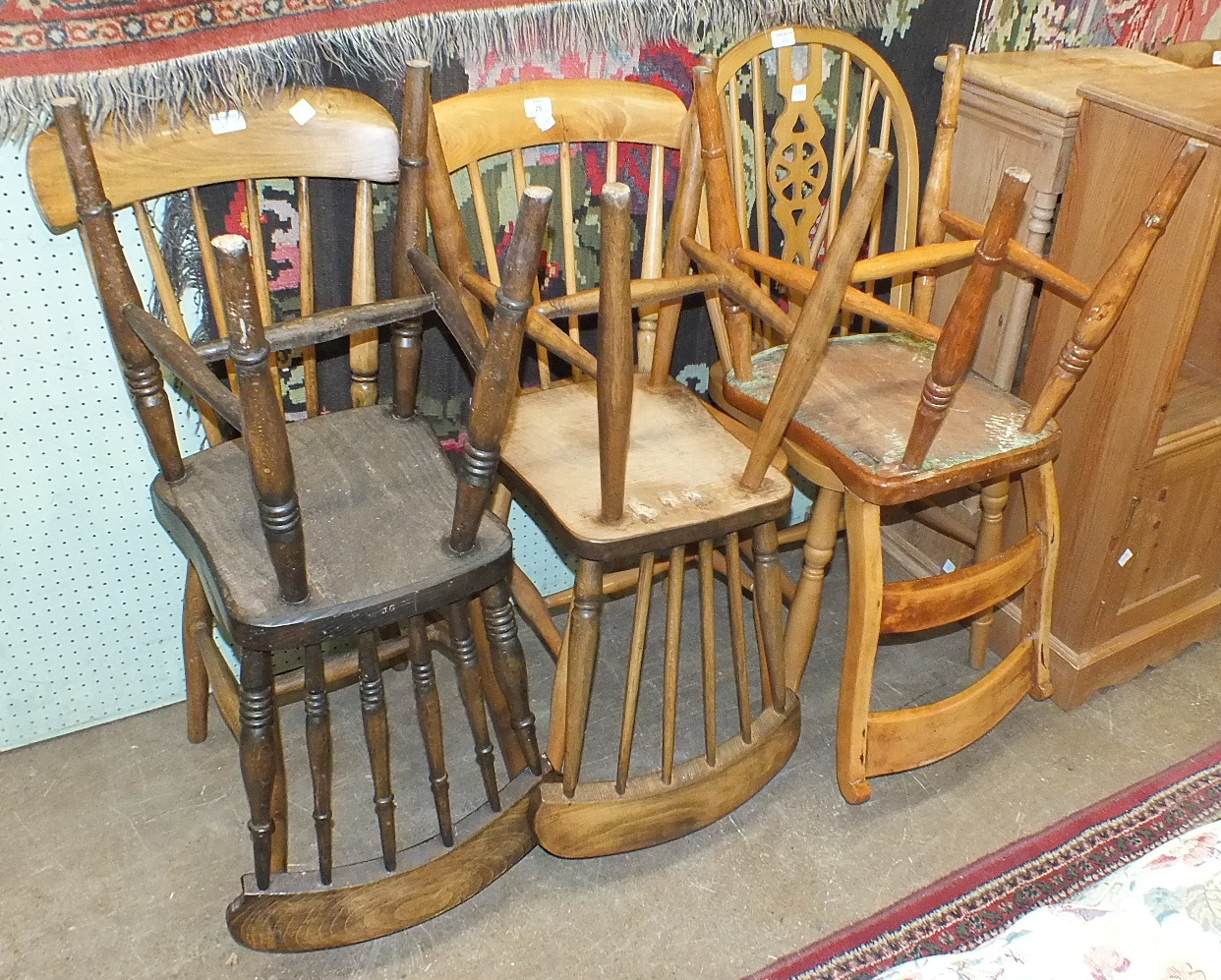 Lot 25 - Four stick-back beech and elm kitchen chairs and two others, (6).