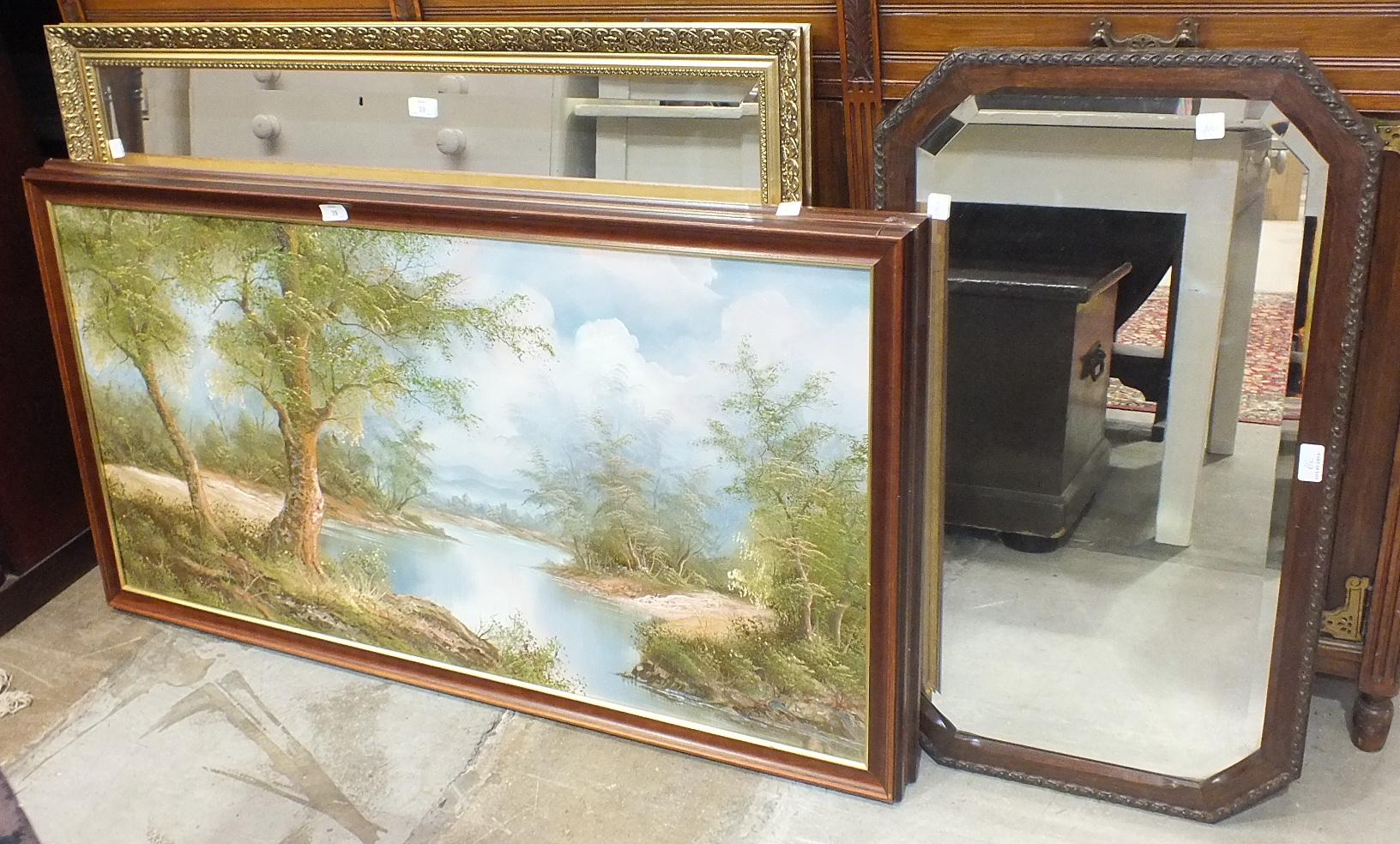 Lot 39 - A modern gilt-framed rectangular wall mirror, 86 x 112cm, two oak-framed mirrors, a modern oil