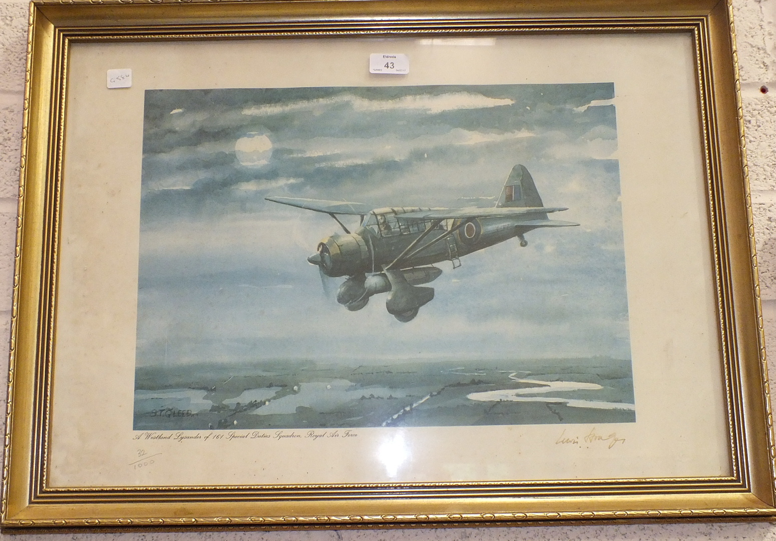 Lot 43 - After S T Gleed, 'A Westland Lysander of 161 Special Duties Squadron, Royal Air Force', a limited