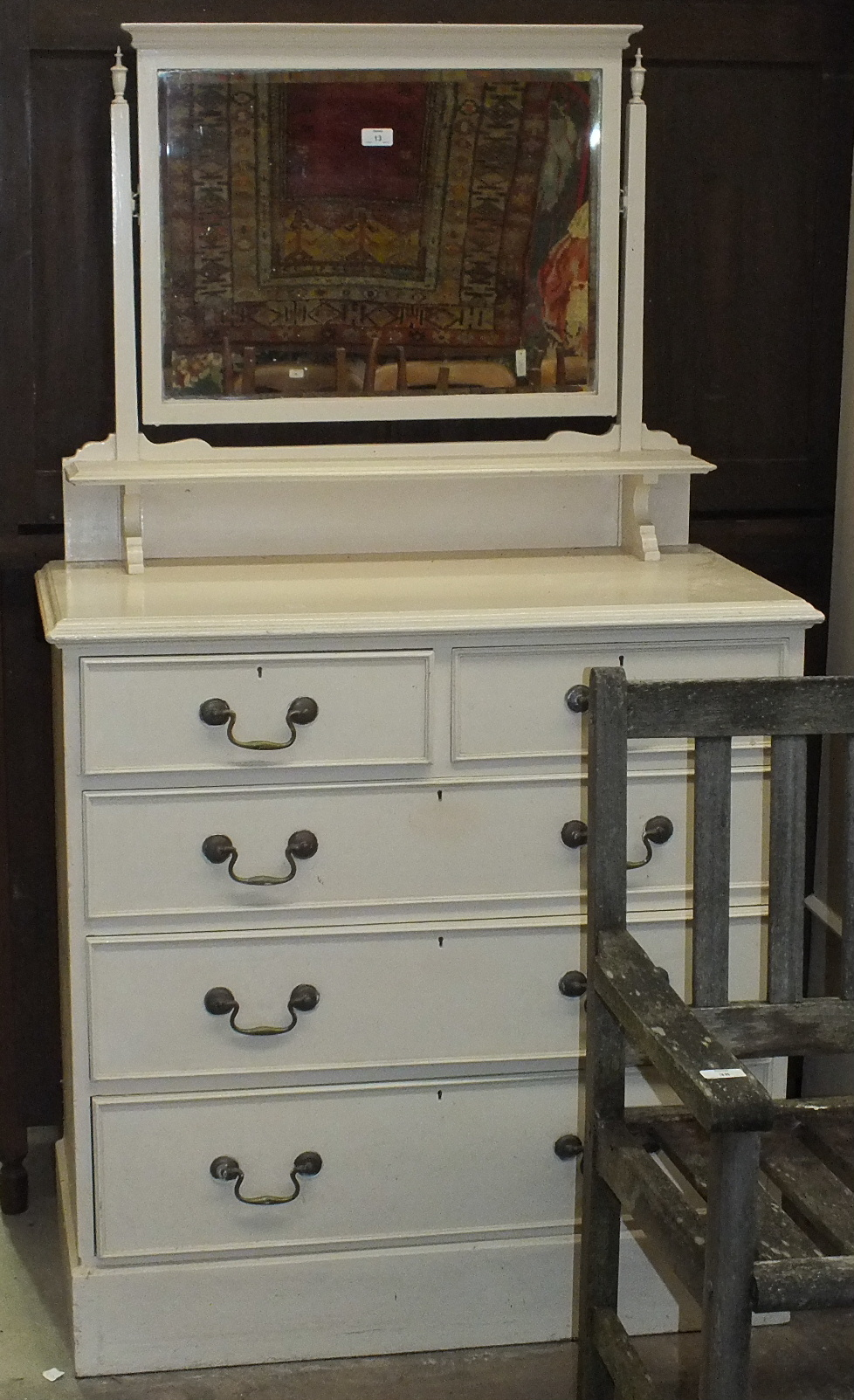 Lot 13 - A painted wood single-mirror-door wardrobe and a similar dressing chest, (2).