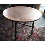 Copper effect topped table 900mm Diameter