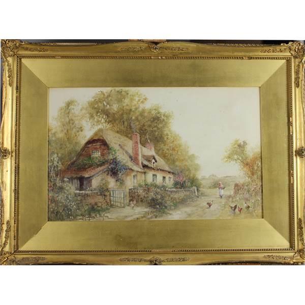 Hughes Clayton, Joseph 1870-1930 British Cottage, Woman and Chickens. - Image 2