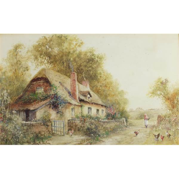 Hughes Clayton, Joseph 1870-1930 British Cottage, Woman and Chickens. - Image 1