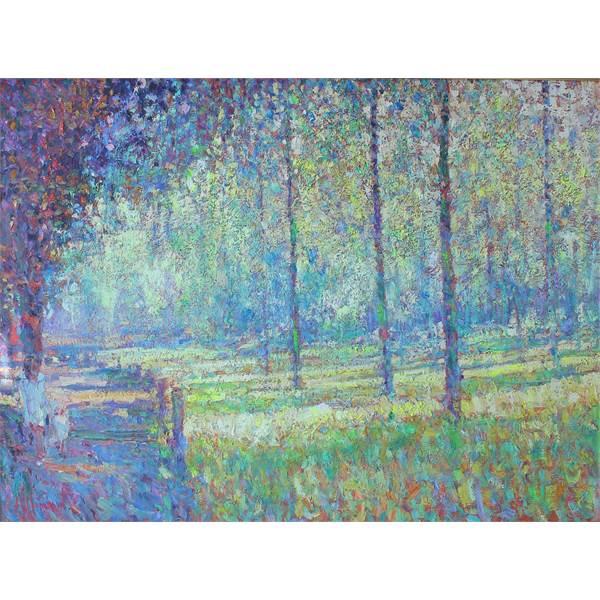 Maderson, Arthur Karl b1942 Irish AR, Poplar Trees near Erwood, Early Evening Study. - Image 1