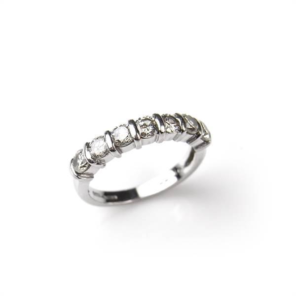 Platinum diamond half eternity ring. - Image 1