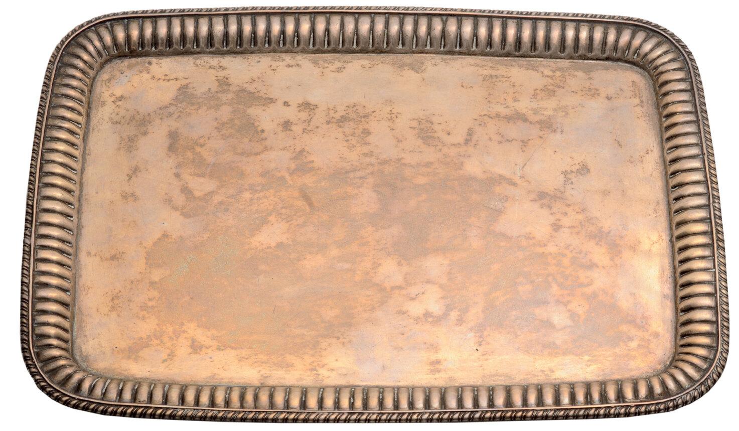 Lot 3600 - Rectangular silver service tray