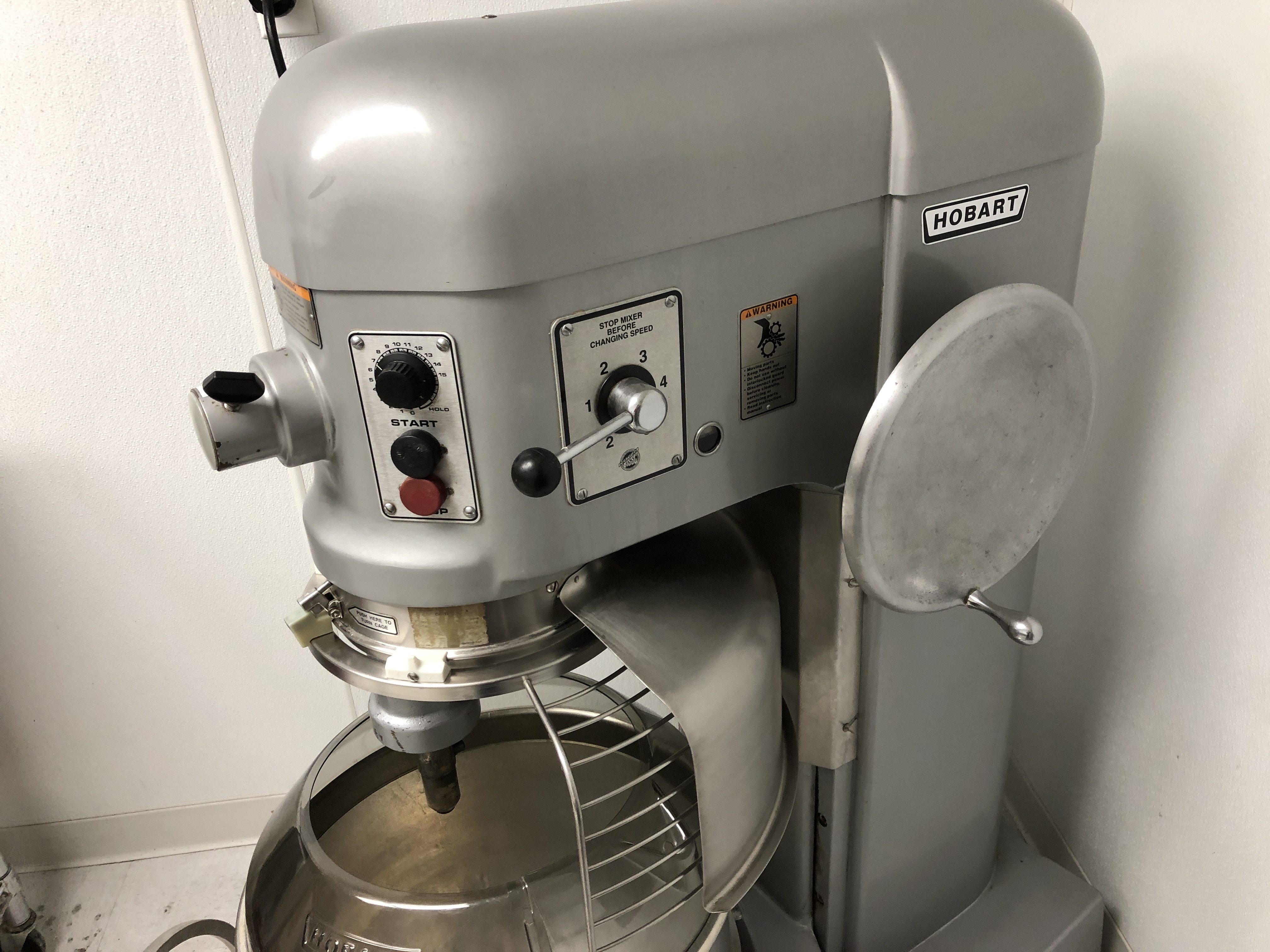 Lot 26 - Hobart L-800 80-Qt Mixer with Stainless Steel Bowl with splash guard, whip, flat beater and dough