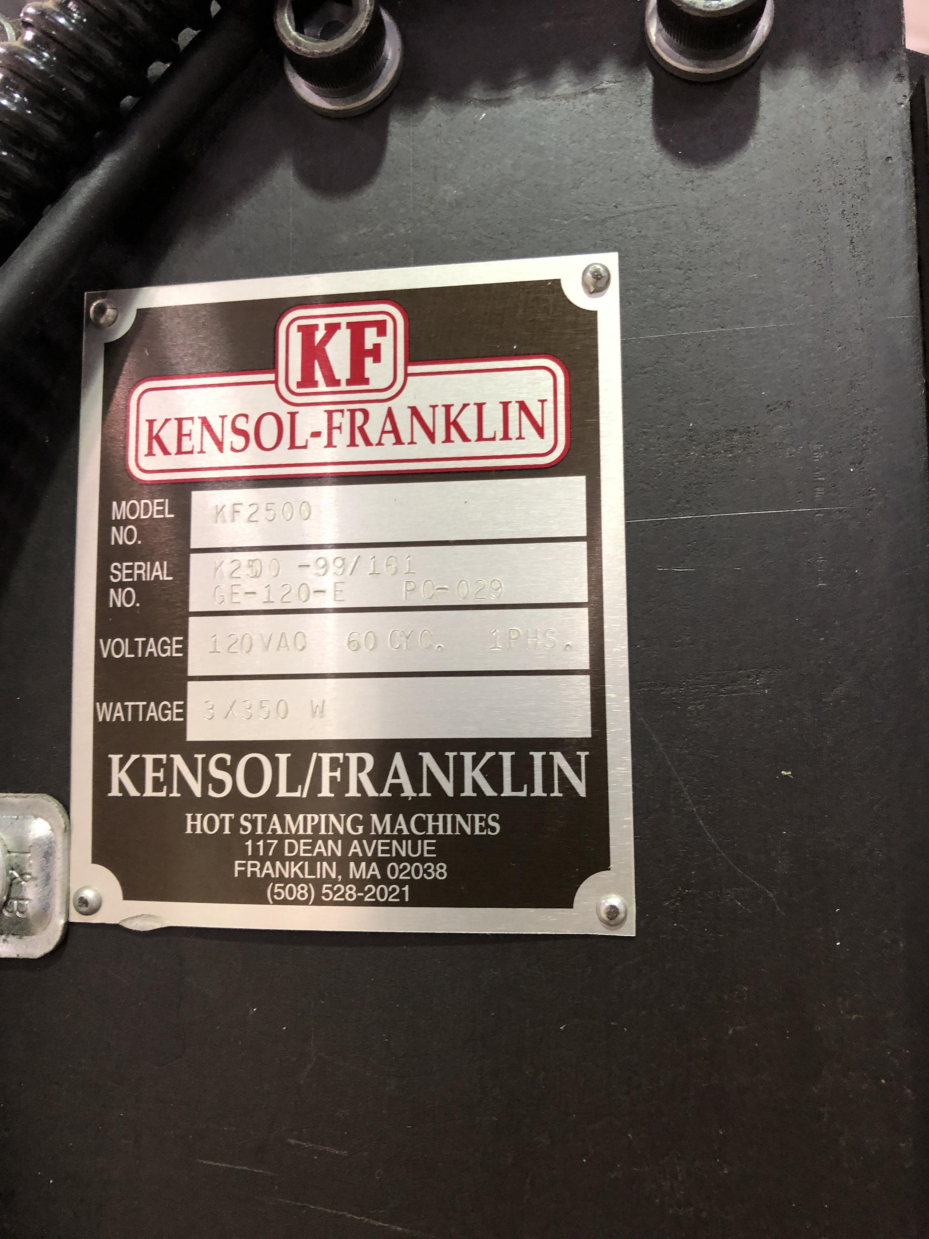 Lot 40 - Kensol-Frankling model KF2500 Hot Foil Stamping Machine for imprinting onto wood, plastic, metal,