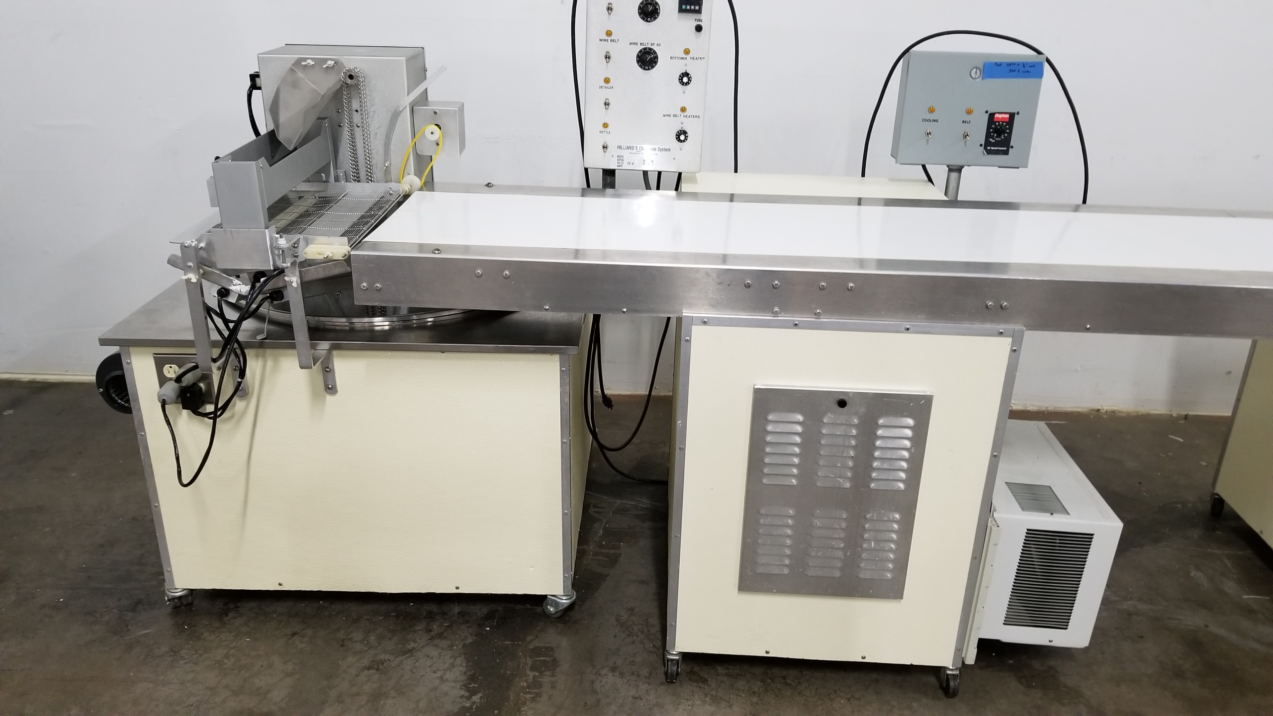 """Lot 21 - Hilliard 16"""" wide Tempering Bottomer #040430 with Hilliard 16"""" wide x 12-ft long Cold Plate Conveyor"""