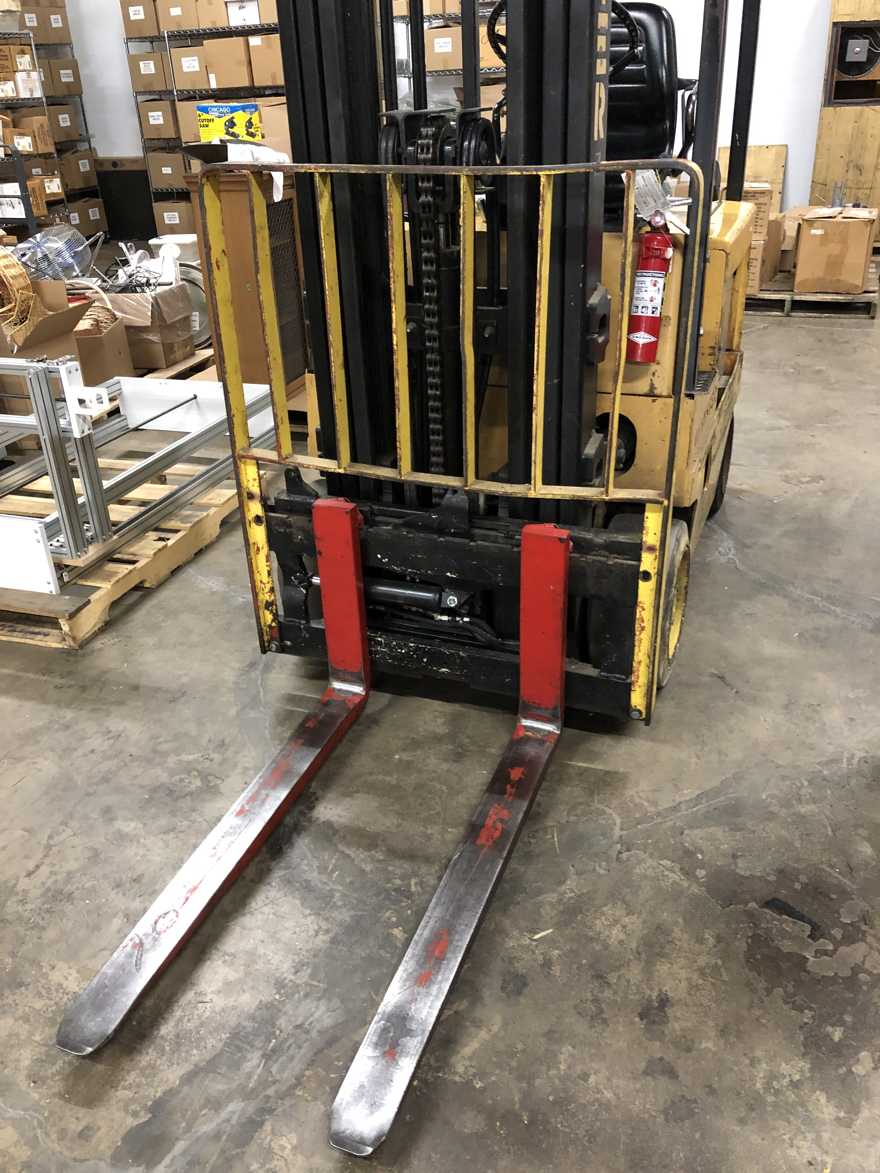 """Lot 49 - Hyster 40 model E40XL-27 3000-lb Electric Forklift with 42"""" long forks, with Hi-Tech Mark II model"""