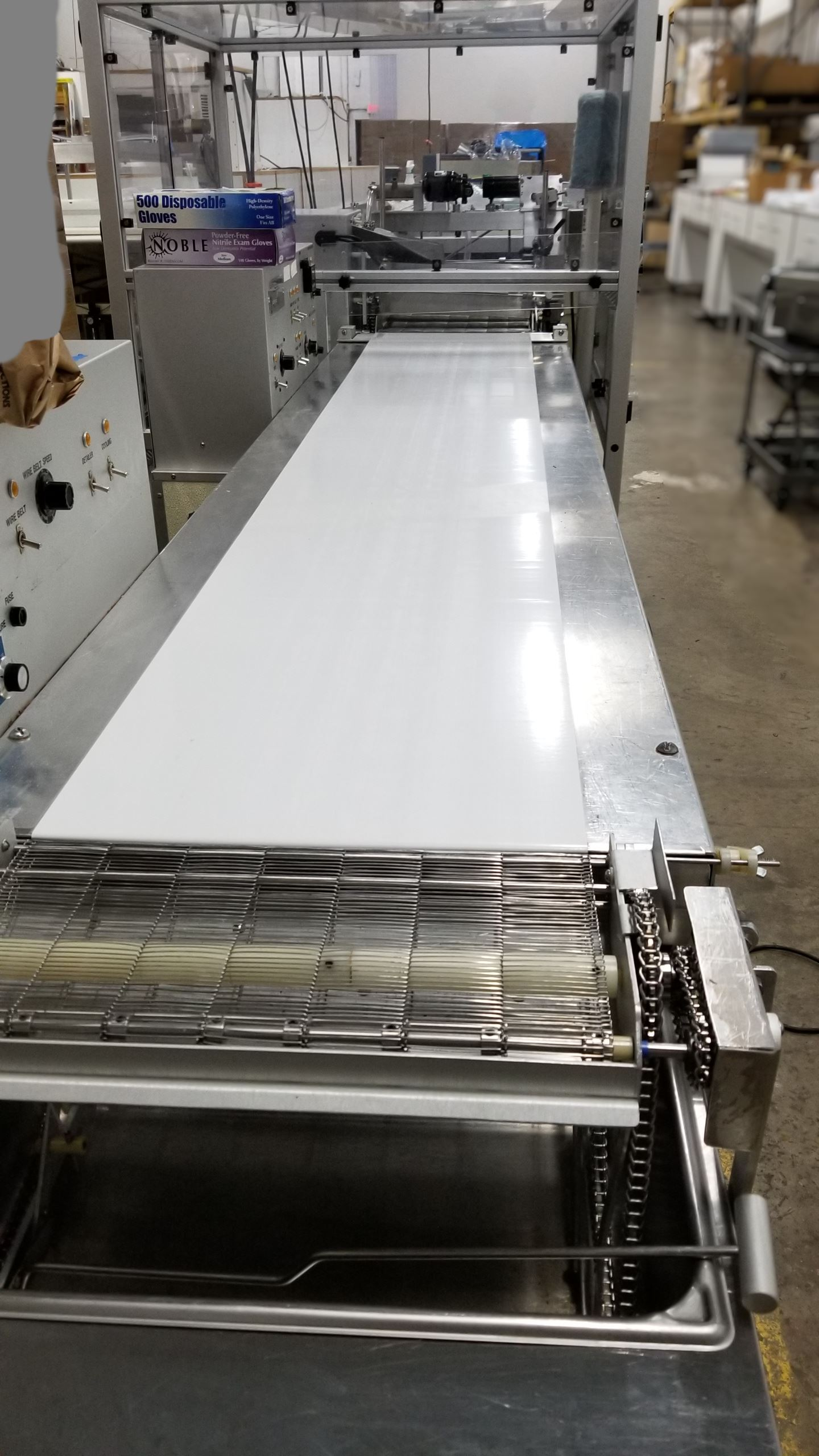 """Lot 22 - Hilliard 16"""" Enrobing Line with pre-bottomer, 8-ft Cold plate conveyor with AC unit, Enrober with"""