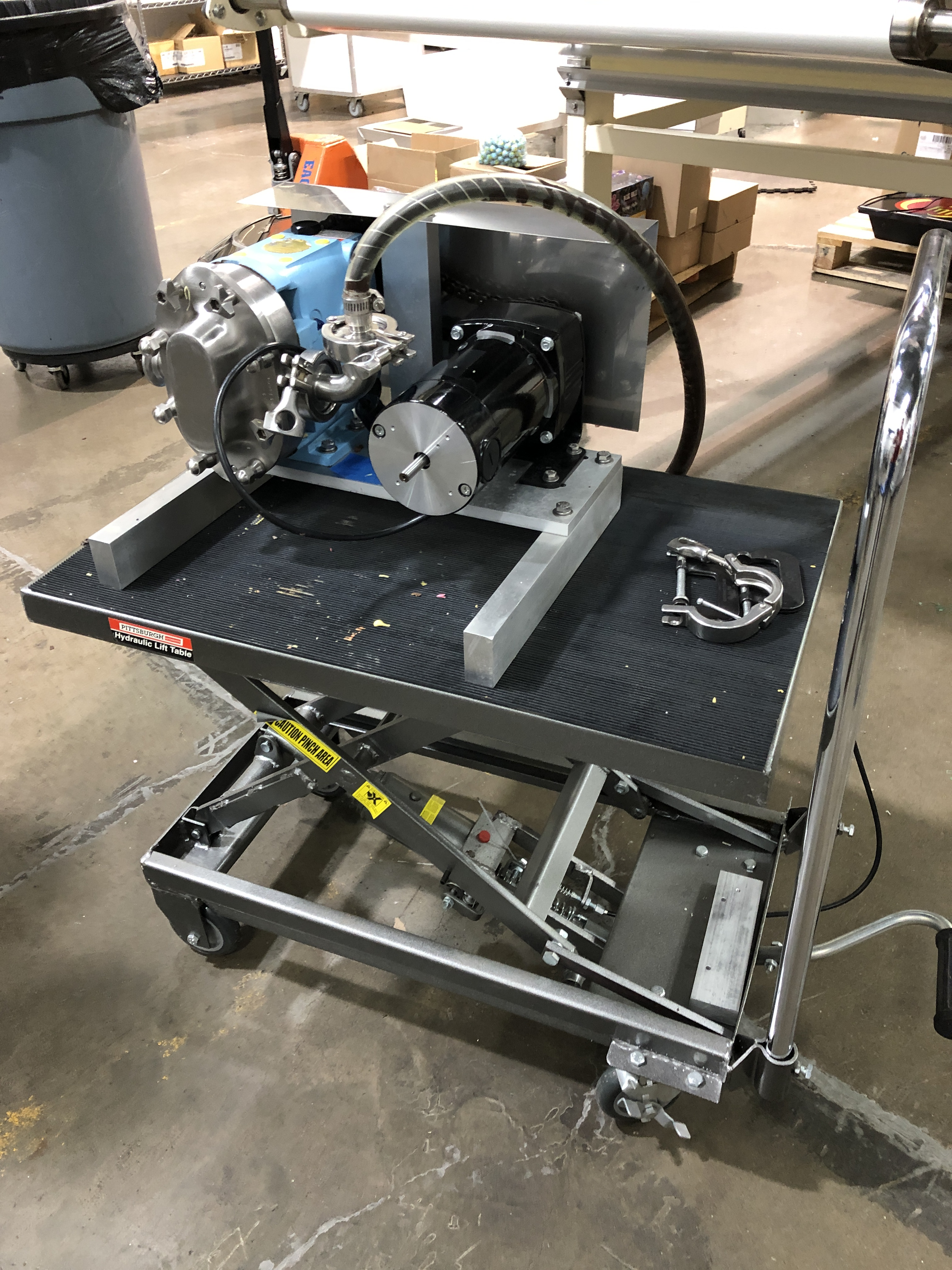 """Lot 27 - Waukesha model 15 Stainless Steel Positive Displacement pump with 1.5"""" sanitary fittings in and out,"""