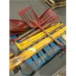 Shovels, broom, forklift forks