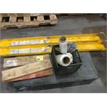 (2) Forklift prongs, pallet netting, wood, misc