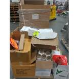 pallet wrap, safety cones, tempt tale 4, tape, and misc