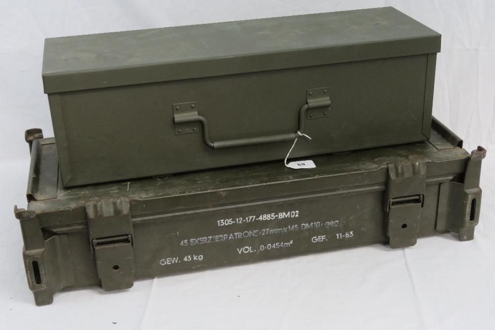 Two large ammunition crates; a British M