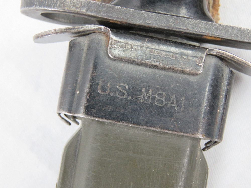 Lot 66 - Two reproduction US M8A1 M1 Carbine bayo