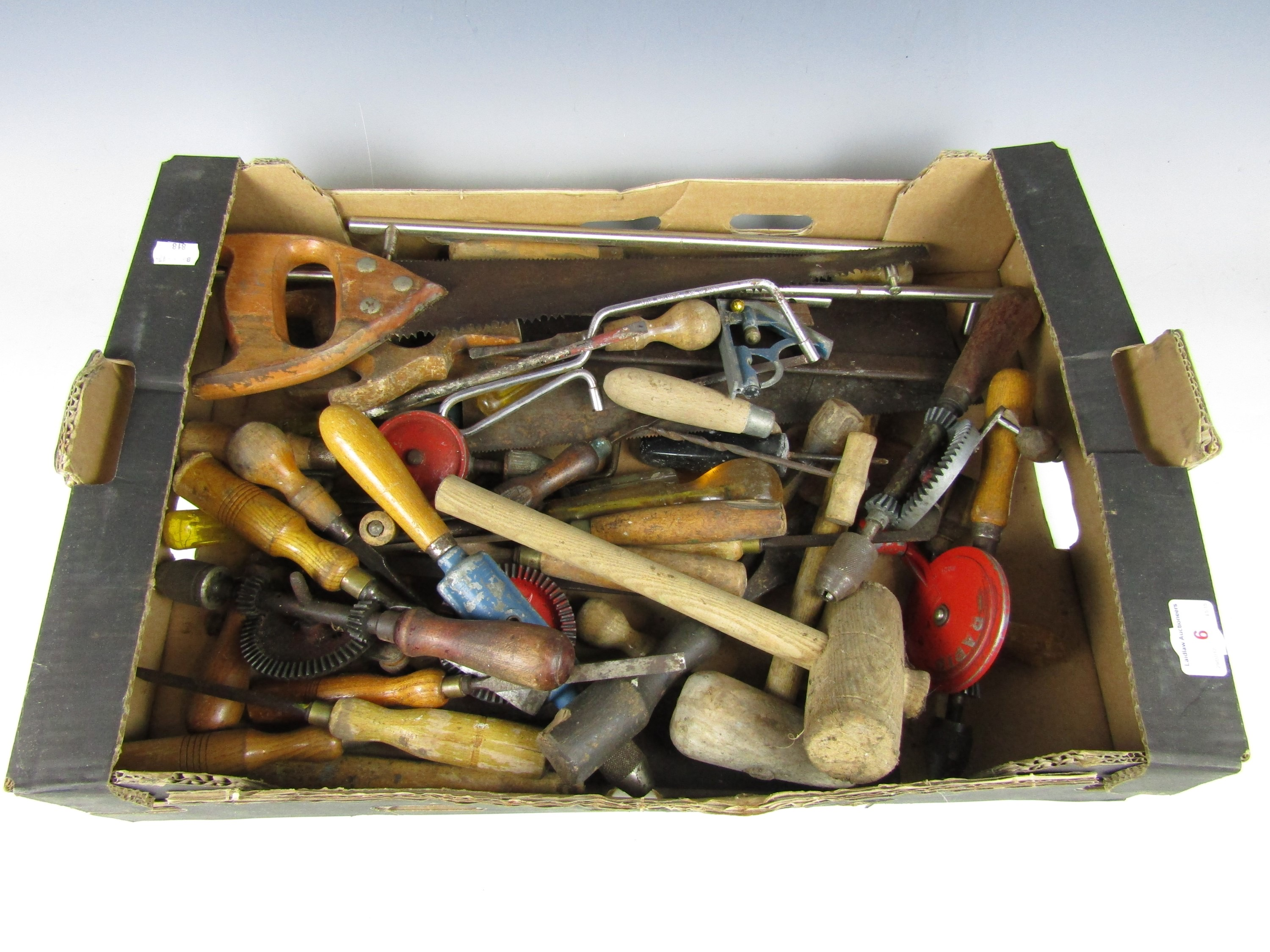 Lot 6 - A box of tools including chisels and mallets etc