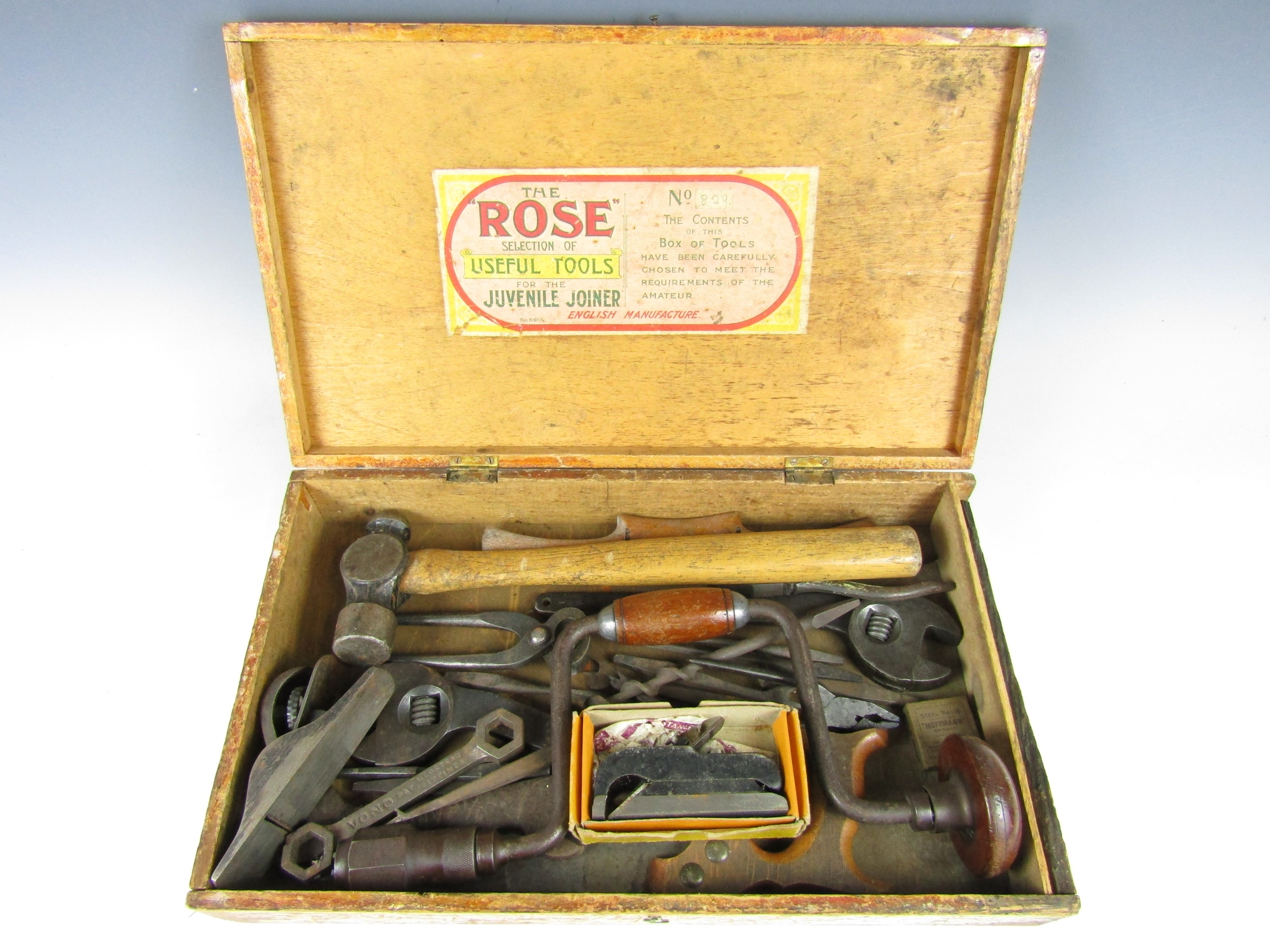 Lot 50 - A box of vintage tools labelled The Rose Selection of Useful Tools for the Juvenile Joiner