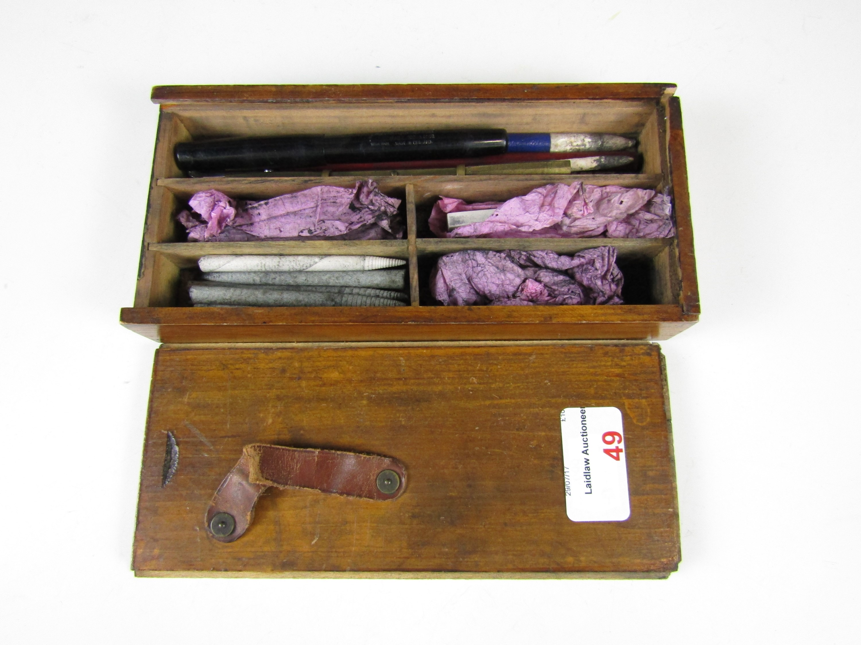 Lot 49 - A charcoal pencil set in period wooden box