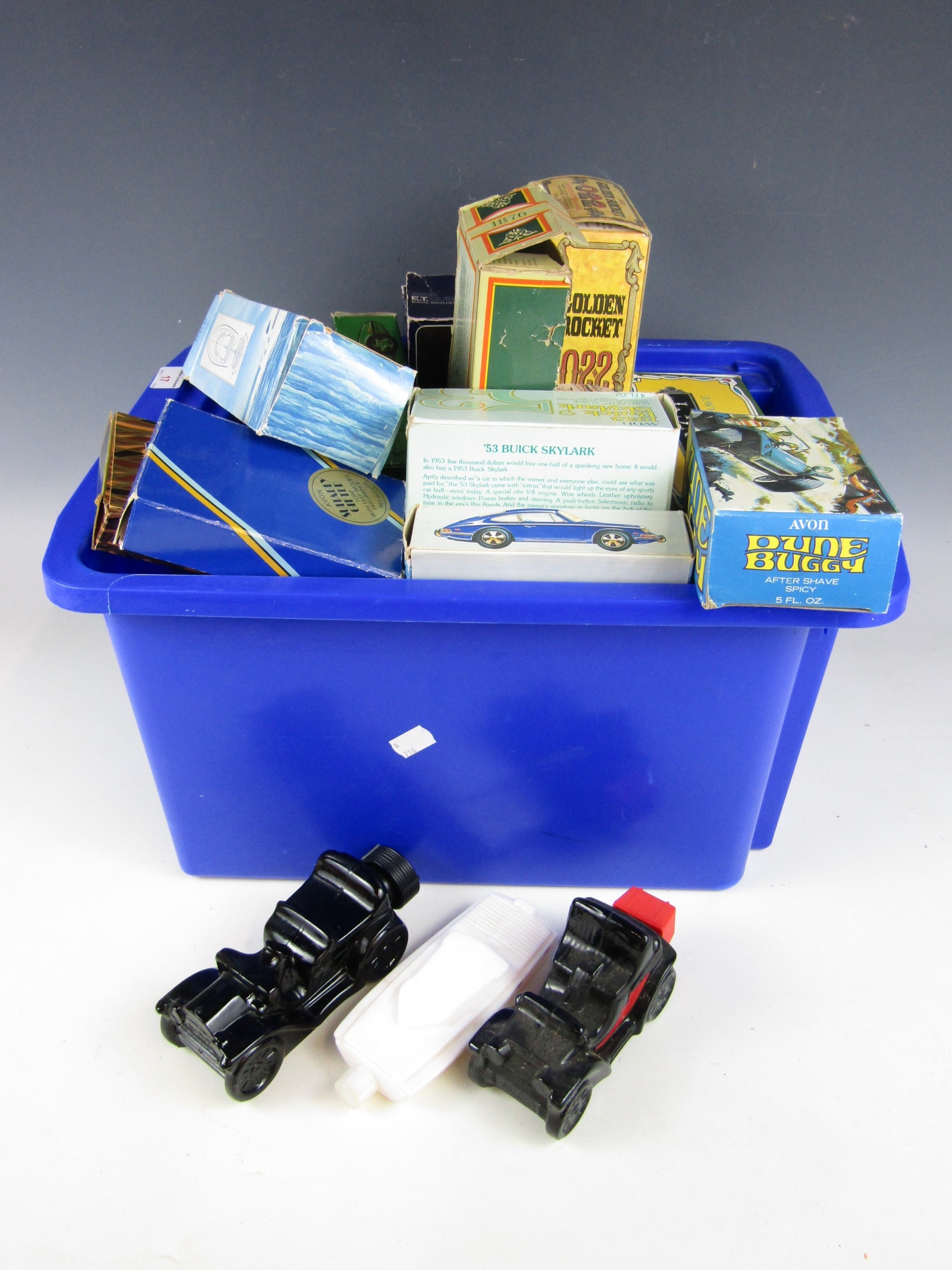 Lot 17 - A large quantity of Avon boxed bottled including automobiles, boats and veteran car themes etc