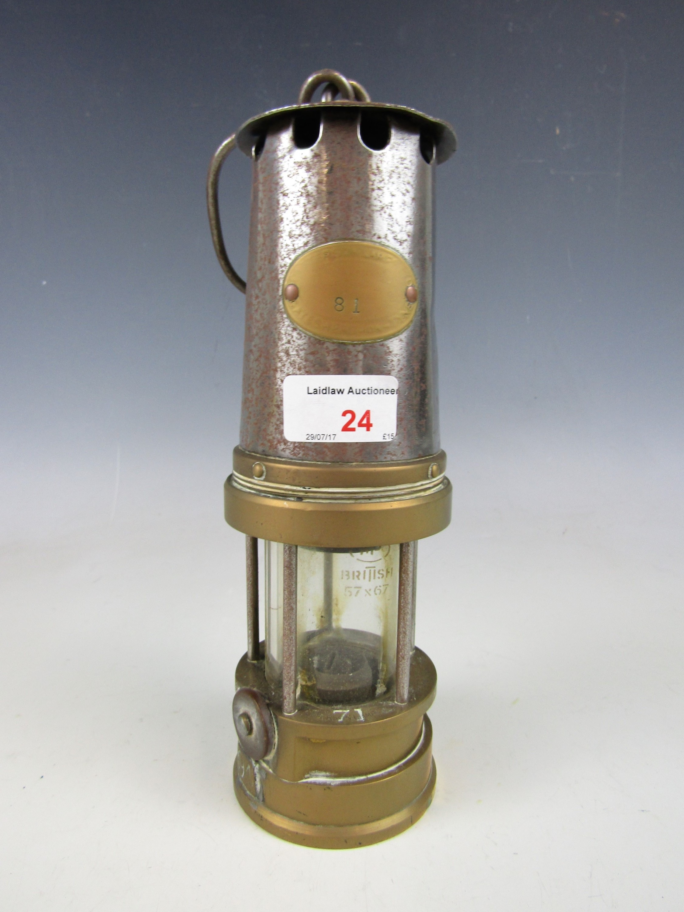 Lot 24 - A Peterson type A1 miner's lamp